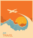 Airplane flying in sky.Vector air travel background Royalty Free Stock Photo