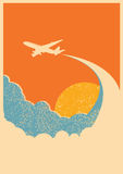 Airplane flying in sky.Vector background Stock Photo