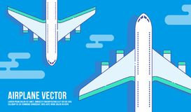 Airplane flying on sky vector royalty free illustration