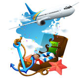 Airplane flying and suitcase Stock Photo
