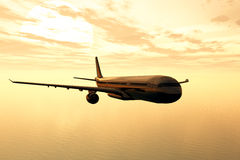 Airplane flying in the sunset 3D render Royalty Free Stock Image