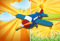 Airplane flying and three different scenes Stock Photography