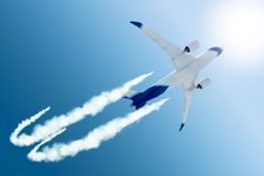 Airplane flying to further destination Stock Images