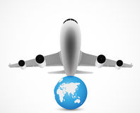 Airplane flying with world travel Royalty Free Stock Photography