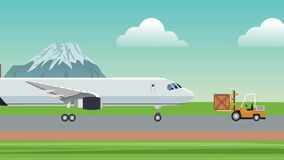 Loading airplane with merchandise HD animation. Airplane and forlift over runway High definition animation colorful scenes royalty free illustration