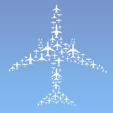 Airplane Formation. Vector Illustration of Commercial Airplanes Formation (15 different airplane designs Stock Images