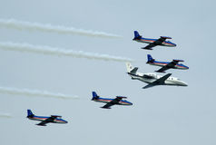 Airplane formation in assault Royalty Free Stock Photo