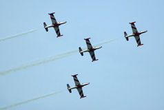 Airplane formation in assault-4 Royalty Free Stock Photography