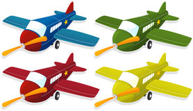 Airplane in four different colors Royalty Free Stock Photography