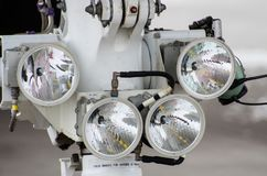 Airplane Four Headlight Close-up. Aviation Spare Parts And Equipment. Royalty Free Stock Photography