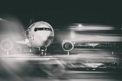 Airplane front close-up. Double exposure Stock Images