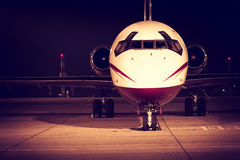 A airplane front detail. A airplane front evening light Stock Photos