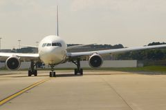 Airplane Front View. View of airliner from the front stock photography