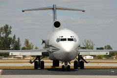 Airplane front view. Passenger jet airplane with missing engine Royalty Free Stock Photo