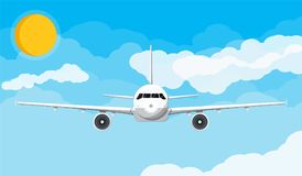 Free Airplane Front View In The Sky With Clouds And Sun Royalty Free Stock Photography - 117853187