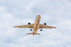 Airplane front view, landing approach, airline Eurowings. Stuttgart, Germany - April 29, 2017: Eurowings airplane approaching for landing at airport Stuttgart Stock Photos