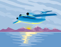 Airplane in full flight Stock Photography