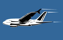 Airplane in full flight Royalty Free Stock Photo