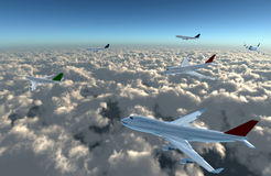 Airplane full on sky. A airplane flying in the sky, Provide a travel and airline services concept Stock Photo