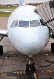Airplane at gate stock image