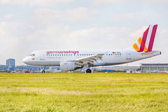 Airplane of Germanwings after landing, airport Stuttgart, Germany Stock Photography