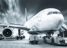 Airplane. Getting prepared for take off stock photography