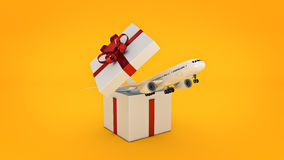 Airplane. Gift box concept. Stock Image