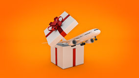 Airplane. Gift box concept. Royalty Free Stock Images