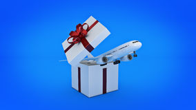Airplane. Gift box concept. Stock Photography