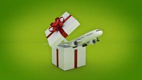 Airplane. Gift box concept. Stock Photos
