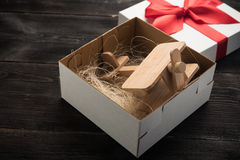 Airplane in gift box Stock Photo