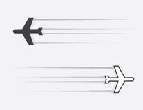 Airplane Glide. Isolated airplane silhouette gliding through the air vector illustration