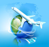Airplane and the Globe Royalty Free Stock Photos