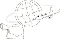 Airplane and globe Stock Photo