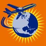 Airplane with globe Royalty Free Stock Photos