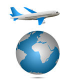 Airplane and globe Stock Images