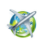 Airplane and globe icon isolated on white Stock Photography