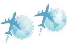 Airplane and globe, set Royalty Free Stock Images