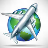 Airplane on globe; travelling concept Stock Photography