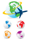 Airplane and globes. An airplane circling the globe or planet Royalty Free Stock Photography