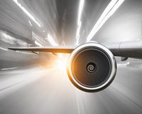 Emergency airplane landing. Mixed media Royalty Free Stock Image