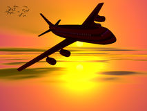 Airplane, going on vacation. Royalty Free Stock Image