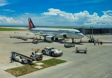 Airplane ground handling Royalty Free Stock Image
