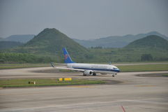 Airplane in Guiyang Longdongbao International Airport Stock Images