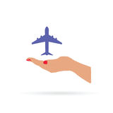 Airplane in hand color  Royalty Free Stock Image