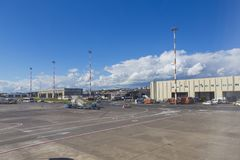 Airport. Airplane hangar from Catania airport, Italy Stock Photography