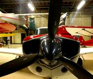 Airplane in hanger stock image