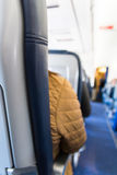 Airplane Headrest Seat Behind Isle Depth of Field Bokeh Blue Lea Royalty Free Stock Photography