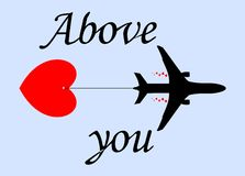 Airplane and heart Stock Photography