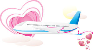 Airplane with hearts. Romance composition. Vector illustration Royalty Free Stock Images